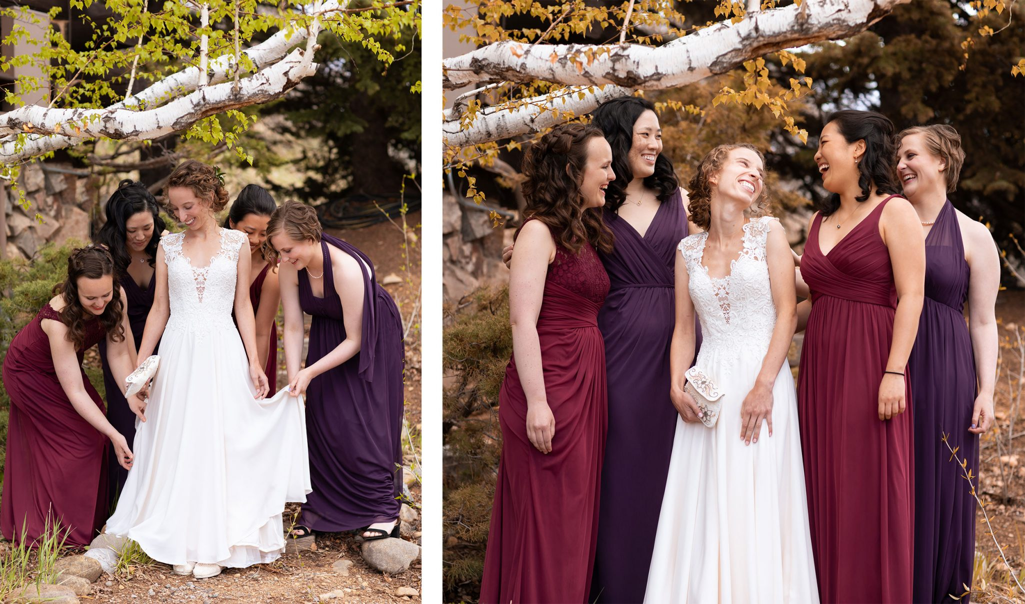 Bridesmaids in plum and wine