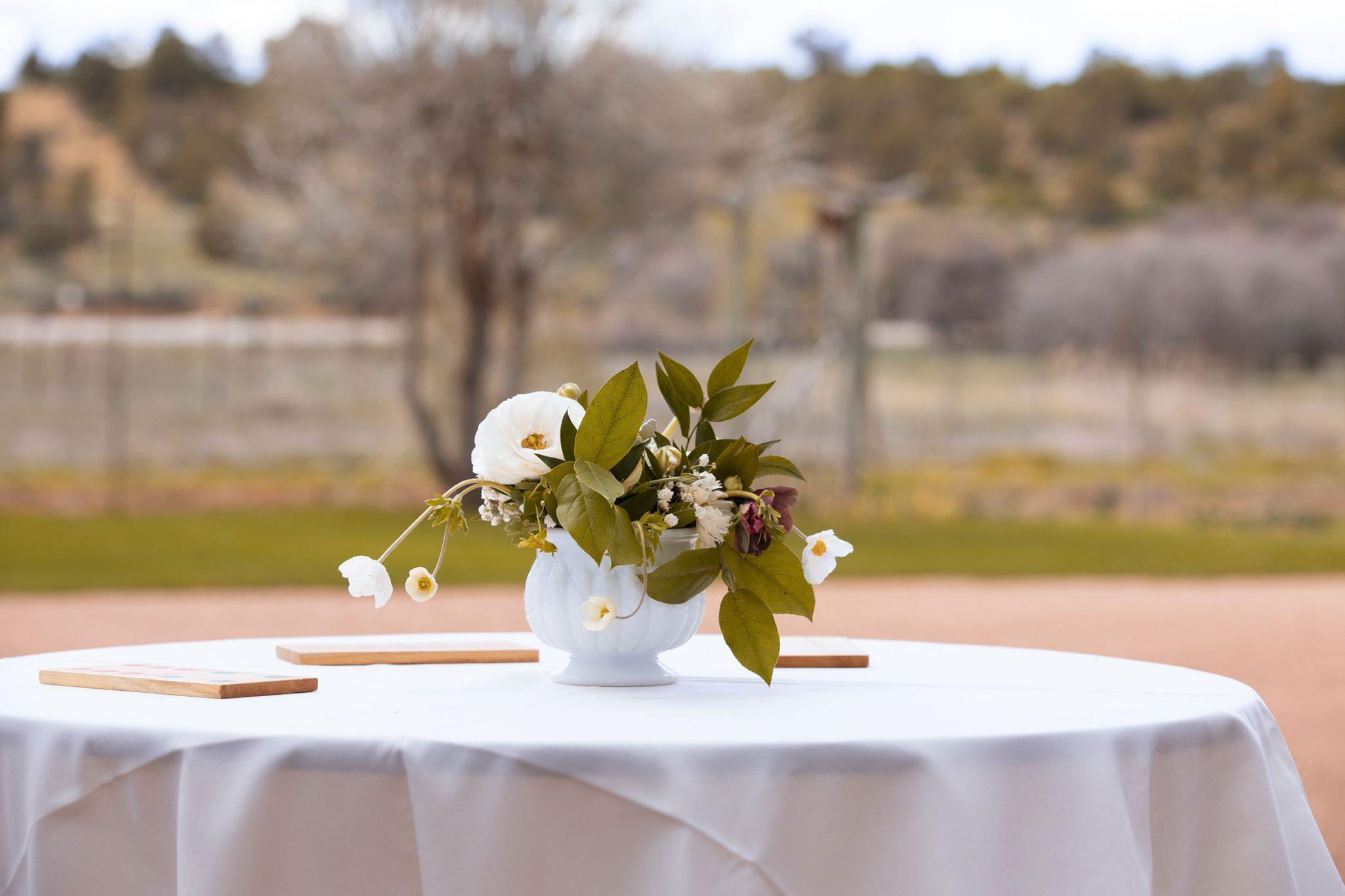 Cocktail table floral centerpiece