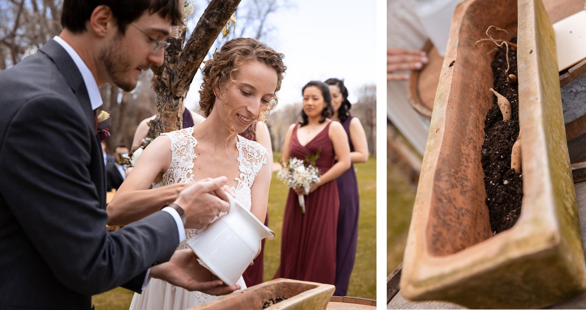 Planting bulbs during the ceremony