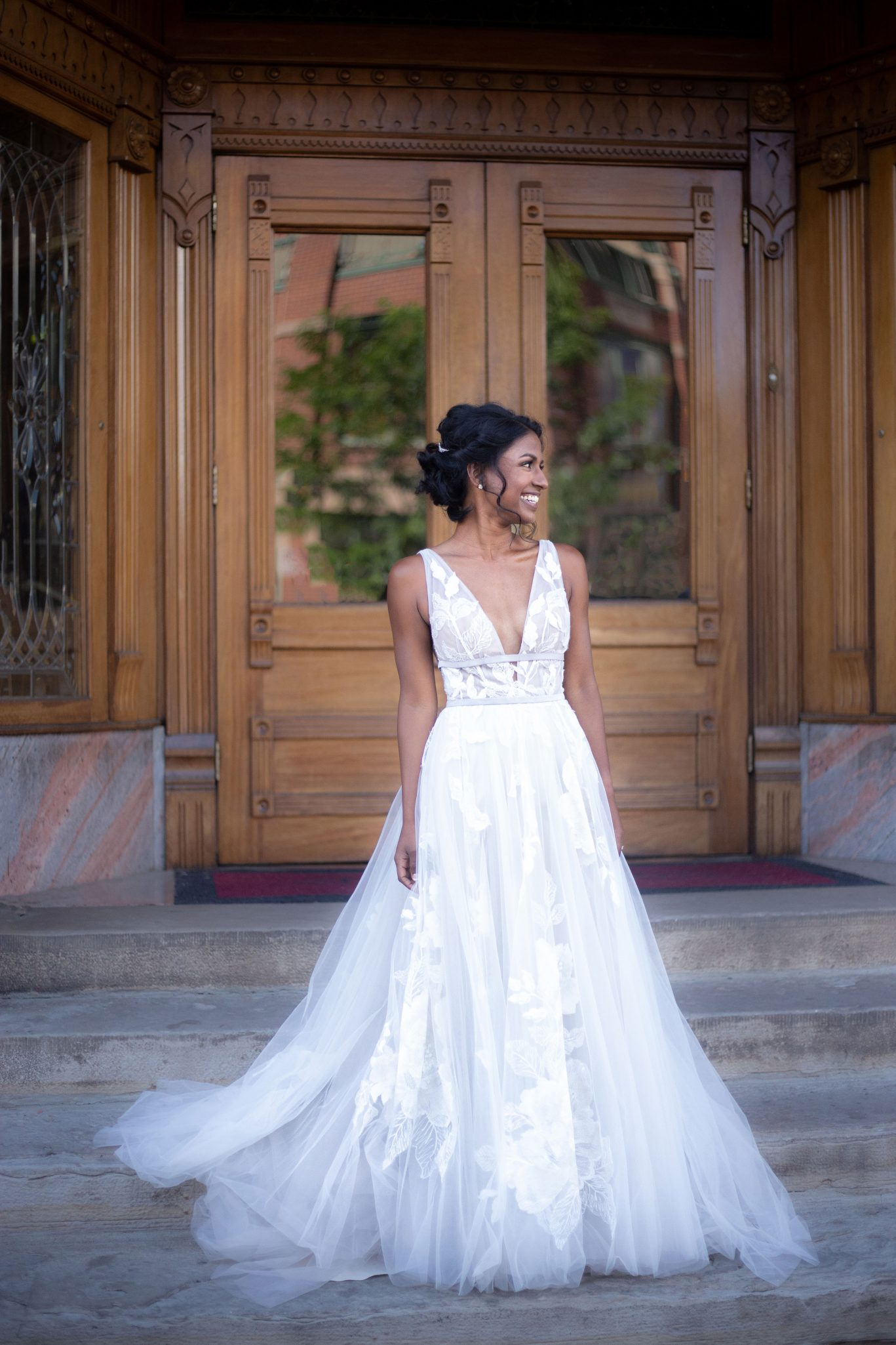 Bride in front of the Strater Hotel, Durango Colorado