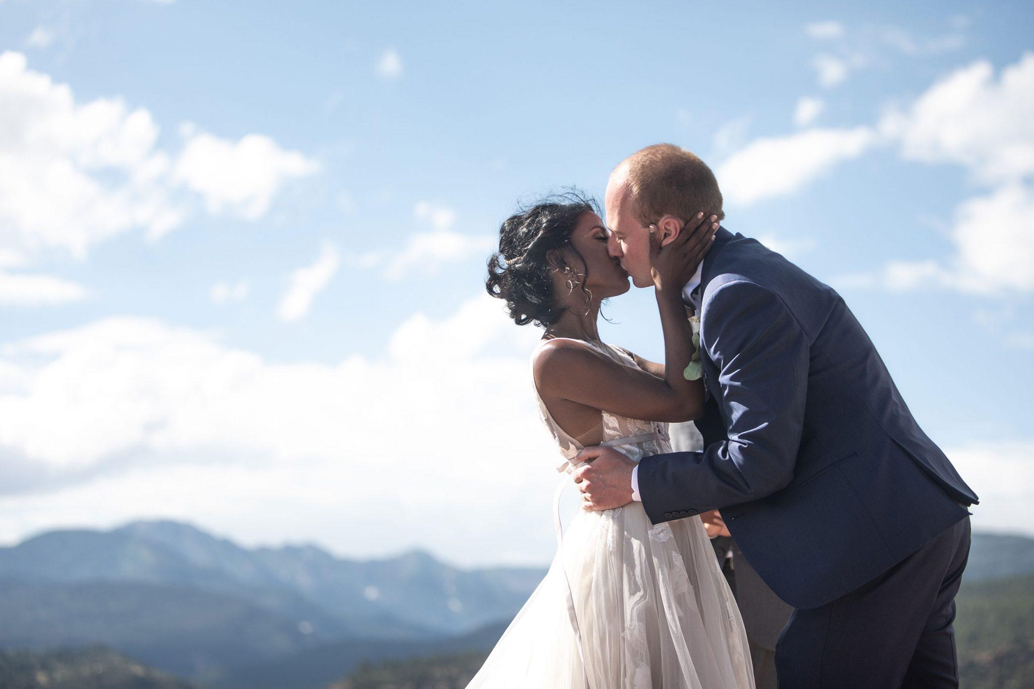 Wedding ceremony kiss in Durango, Colorado