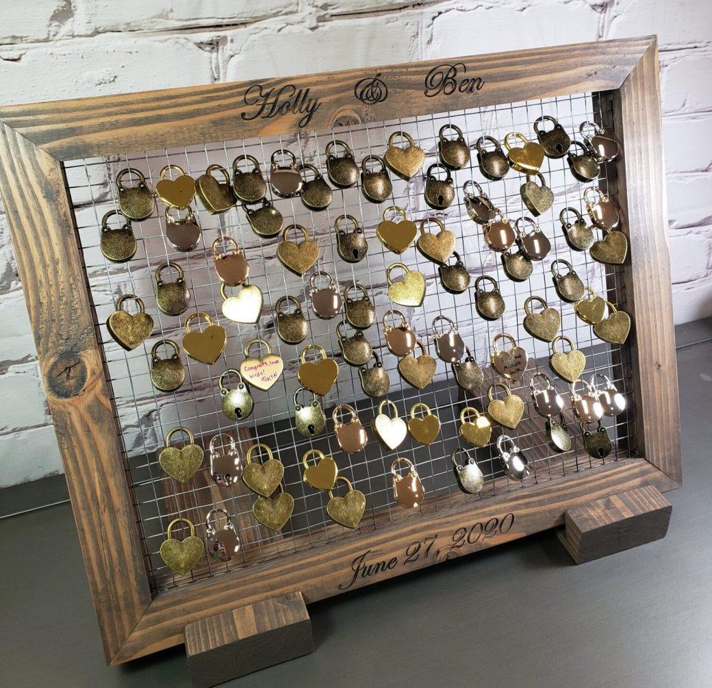 """Love Locks"""" Bridge Guest Book handcrafted by Animas Craft Woodworks, Durango Colorado"""