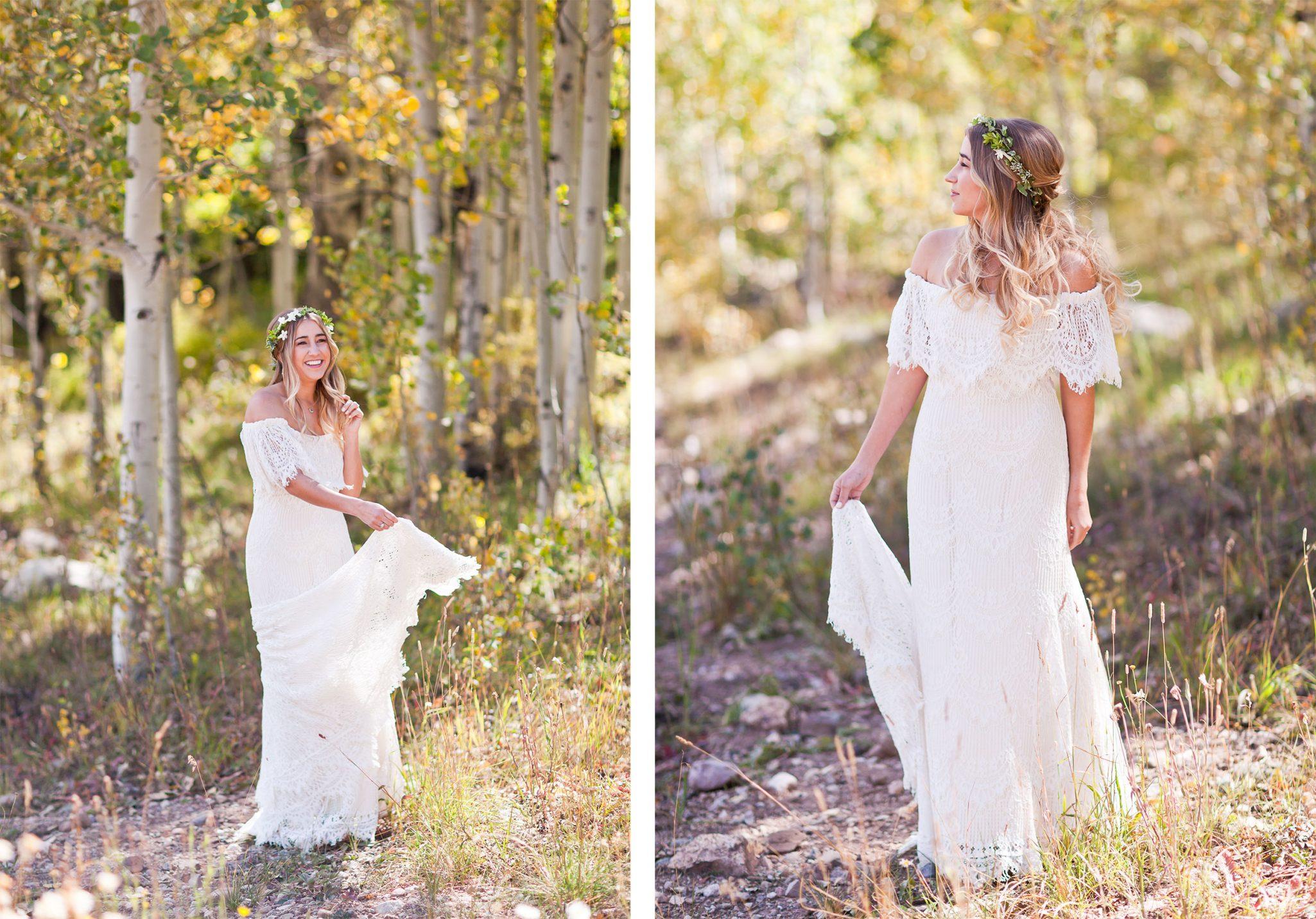 Bride in an aspen grove in Colorado