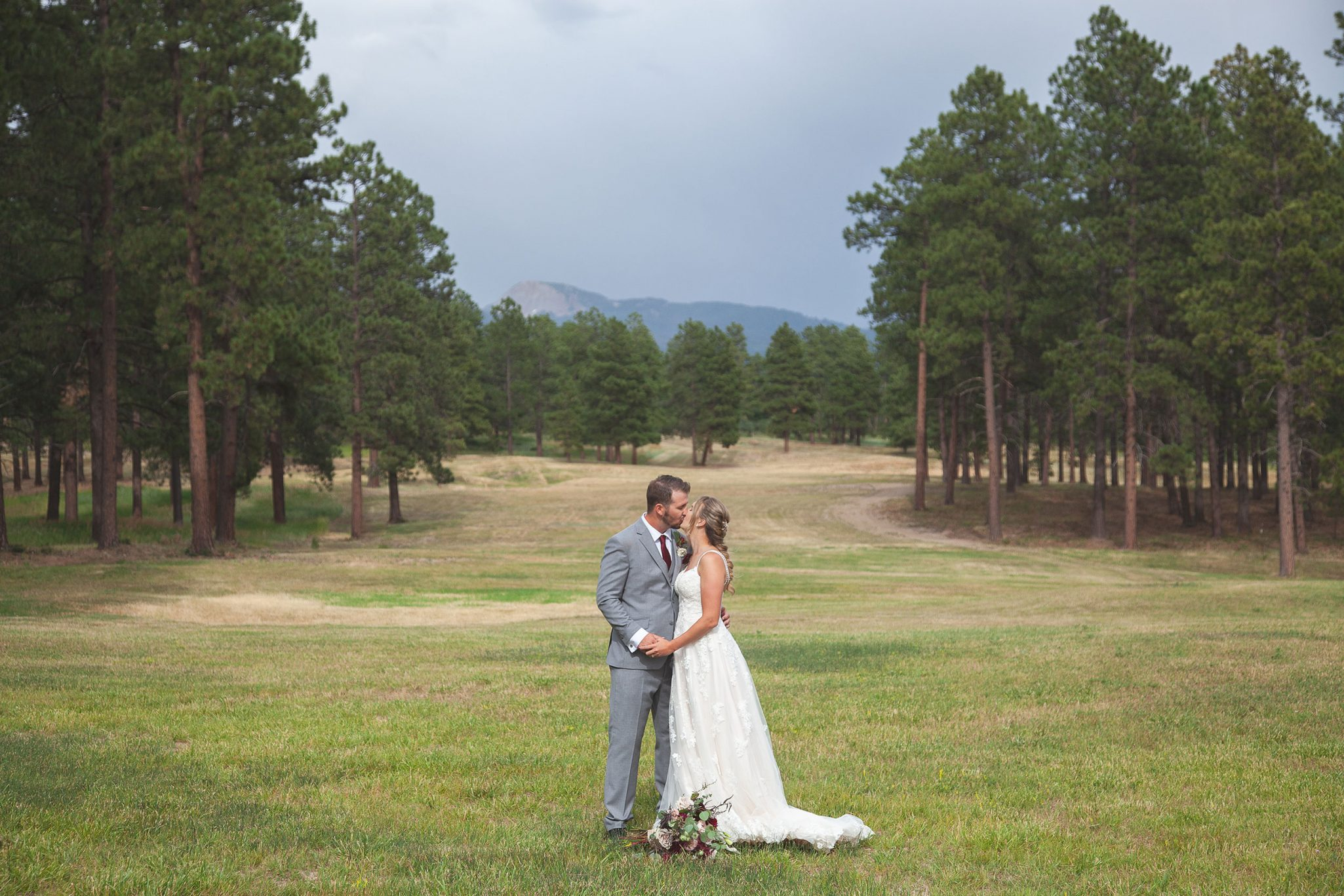 Bride & groom at Echo Basin Ranch, Colorado