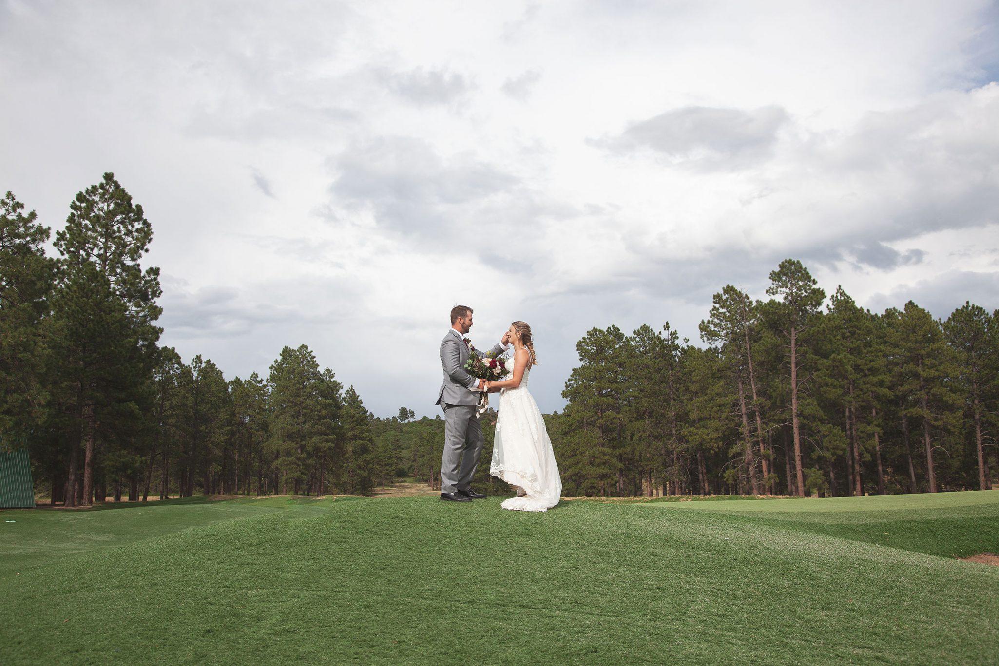Bride & groom at Echo Basin Ranch, Colorado