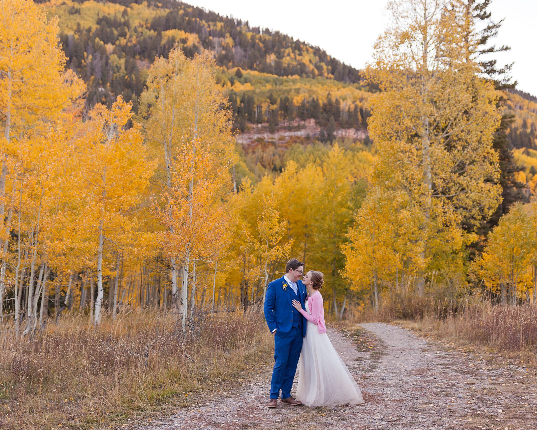 Bride & Groom in the San Juan Mountains in the fall