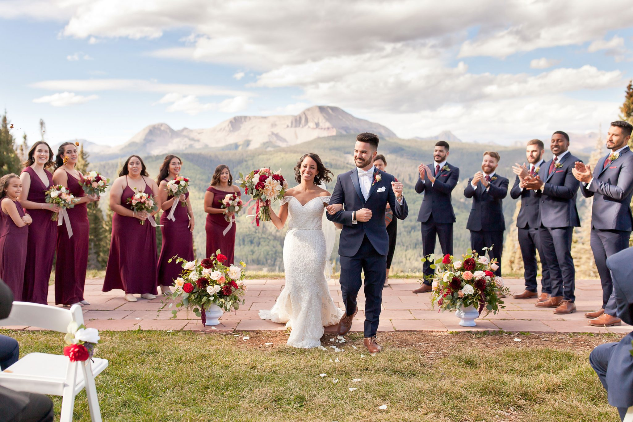 Bride & Groom just married at Purgatory Resort, Durango Colorado
