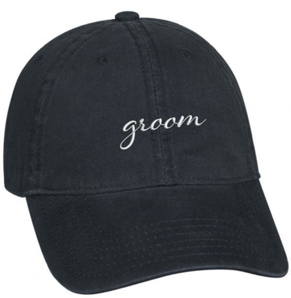 embroidered groom baseball hat
