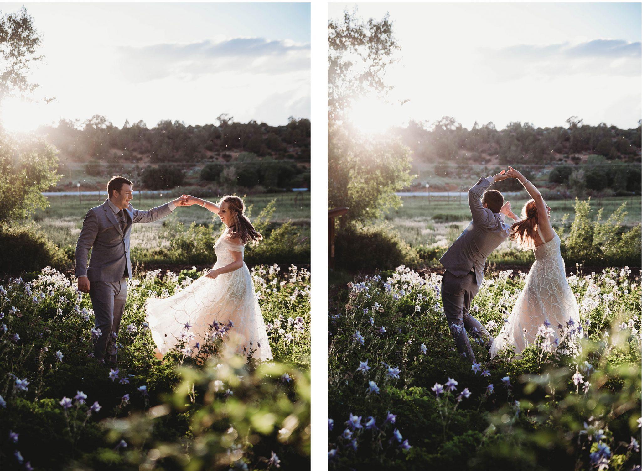 Bride & groom dancing in an iris field in Durango Colorado