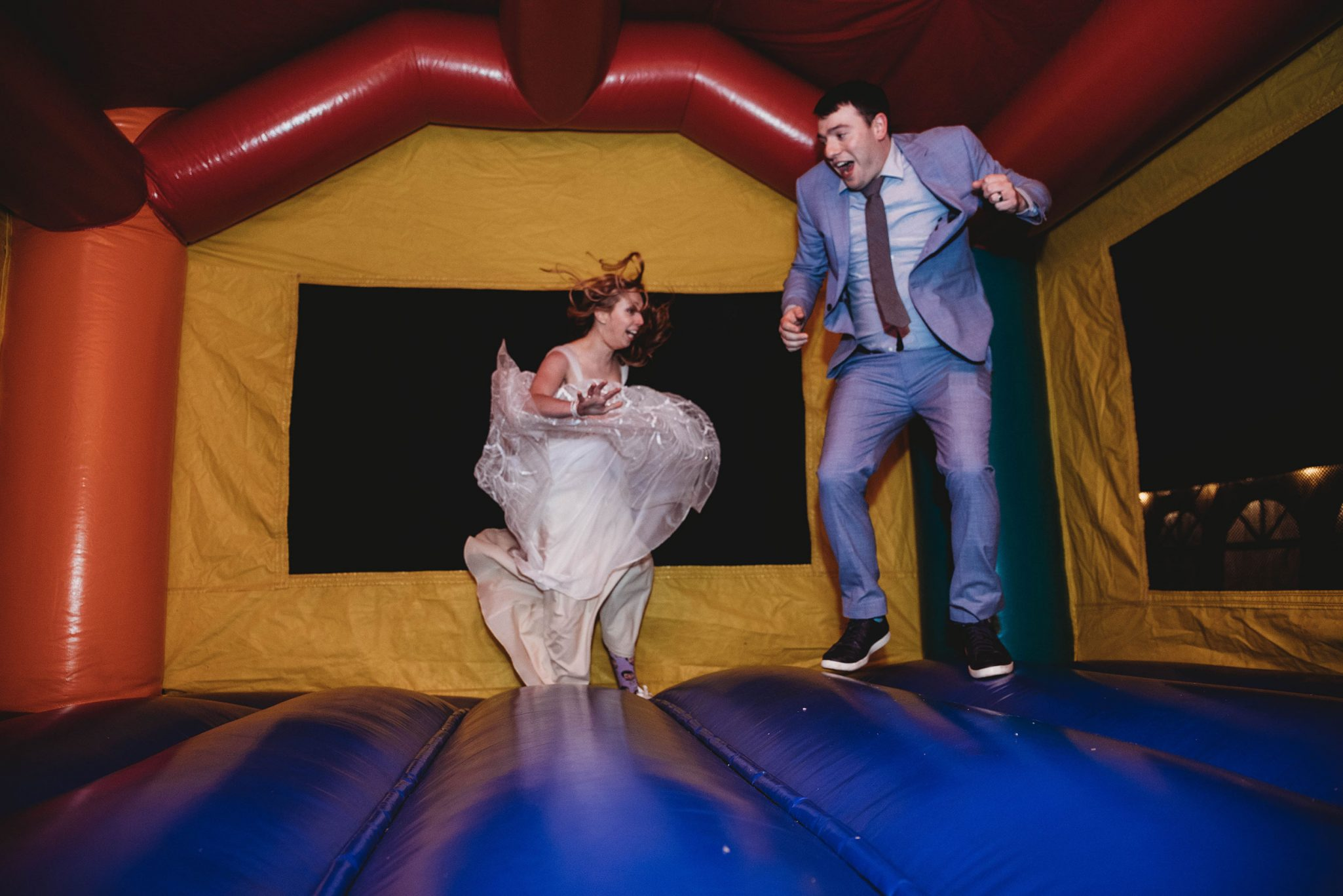 Wedding reception fun with a bounce house