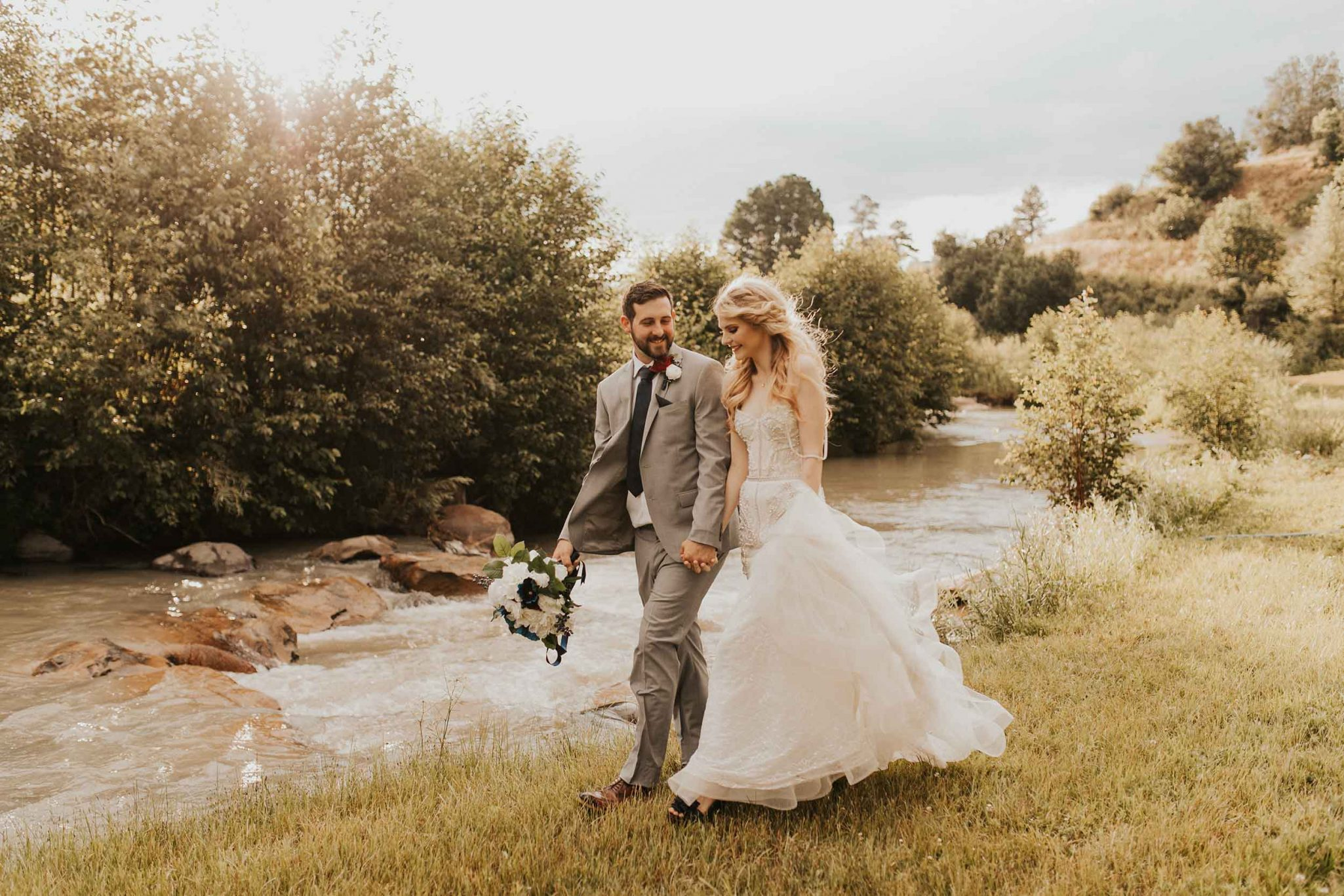 Bride & Groom by the river