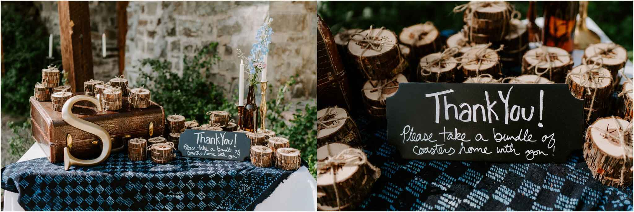 Cedar coaster favors