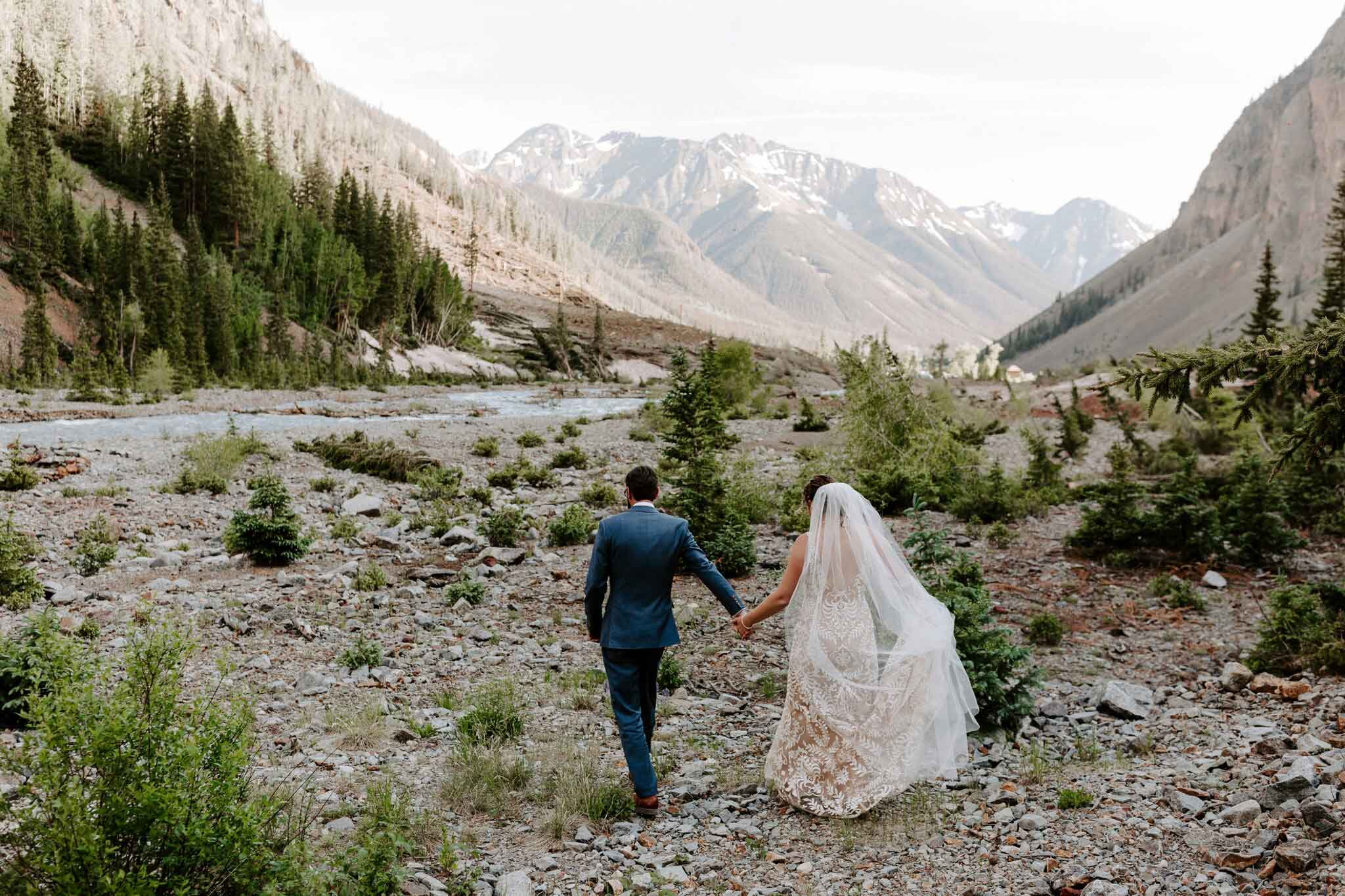 Bride and groom on Alpine Loop, Silverton Colorado