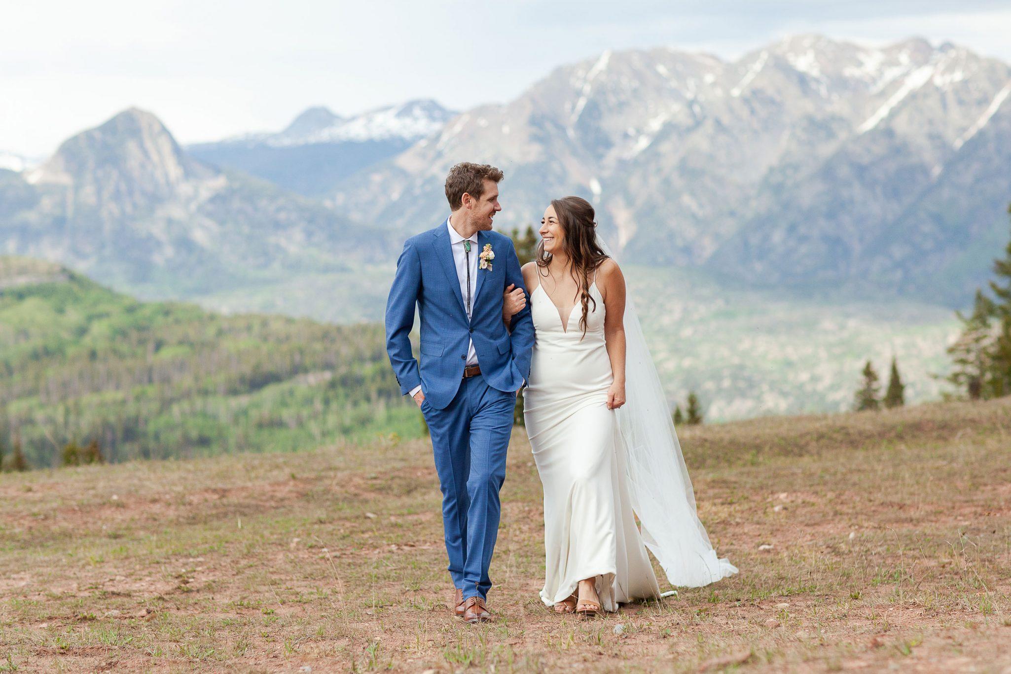 Couple walking in the San Juan mountains