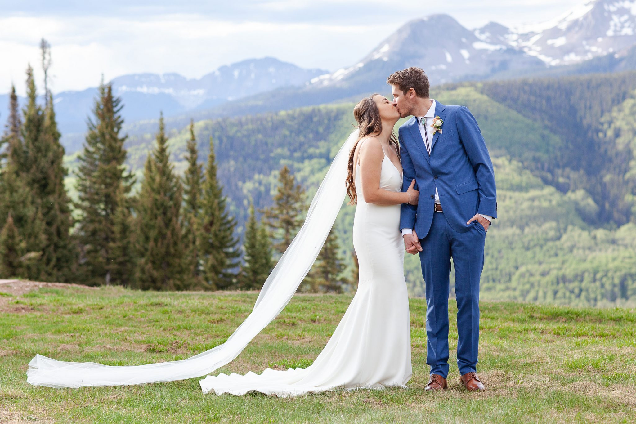 Couple kissing in the San Juan mountains