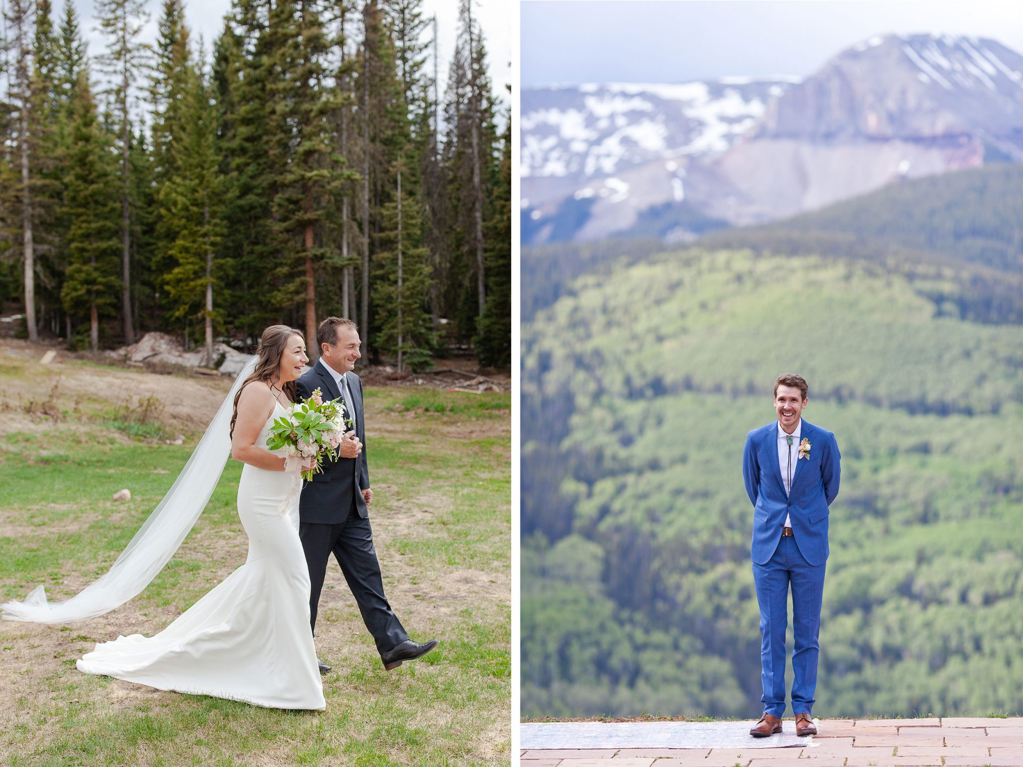 Walking down the aisle in the mountain