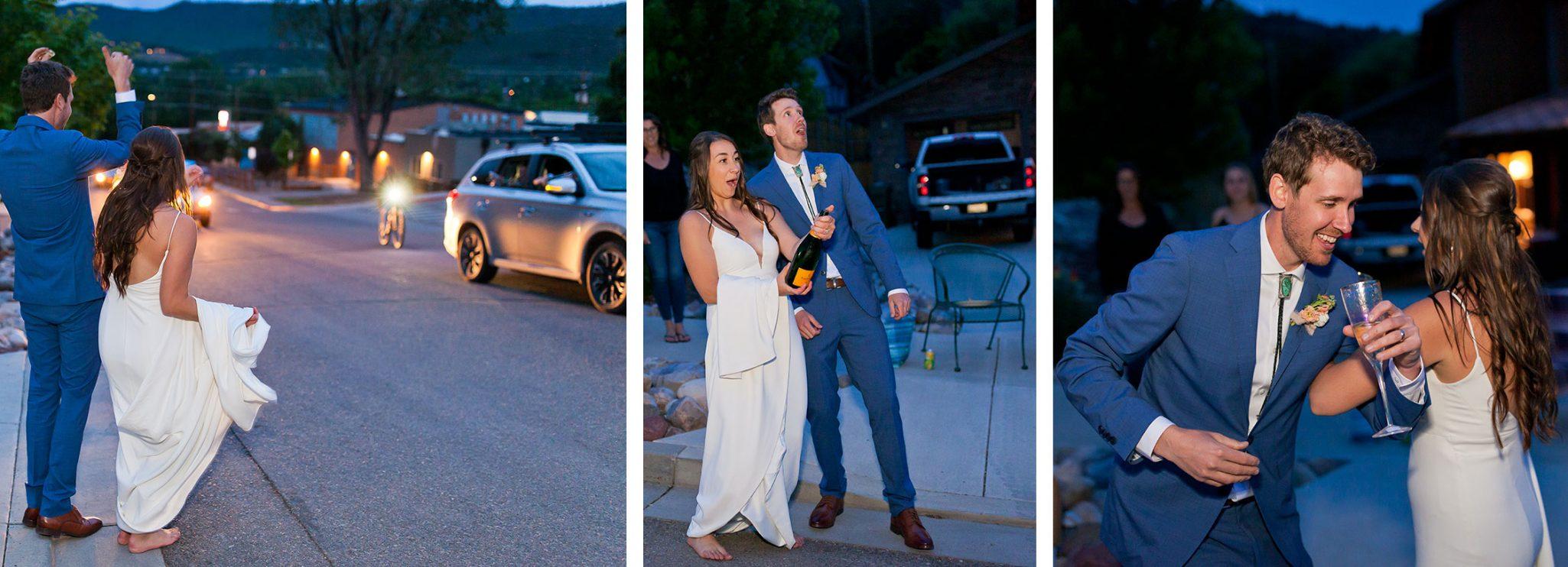 Just married dancing