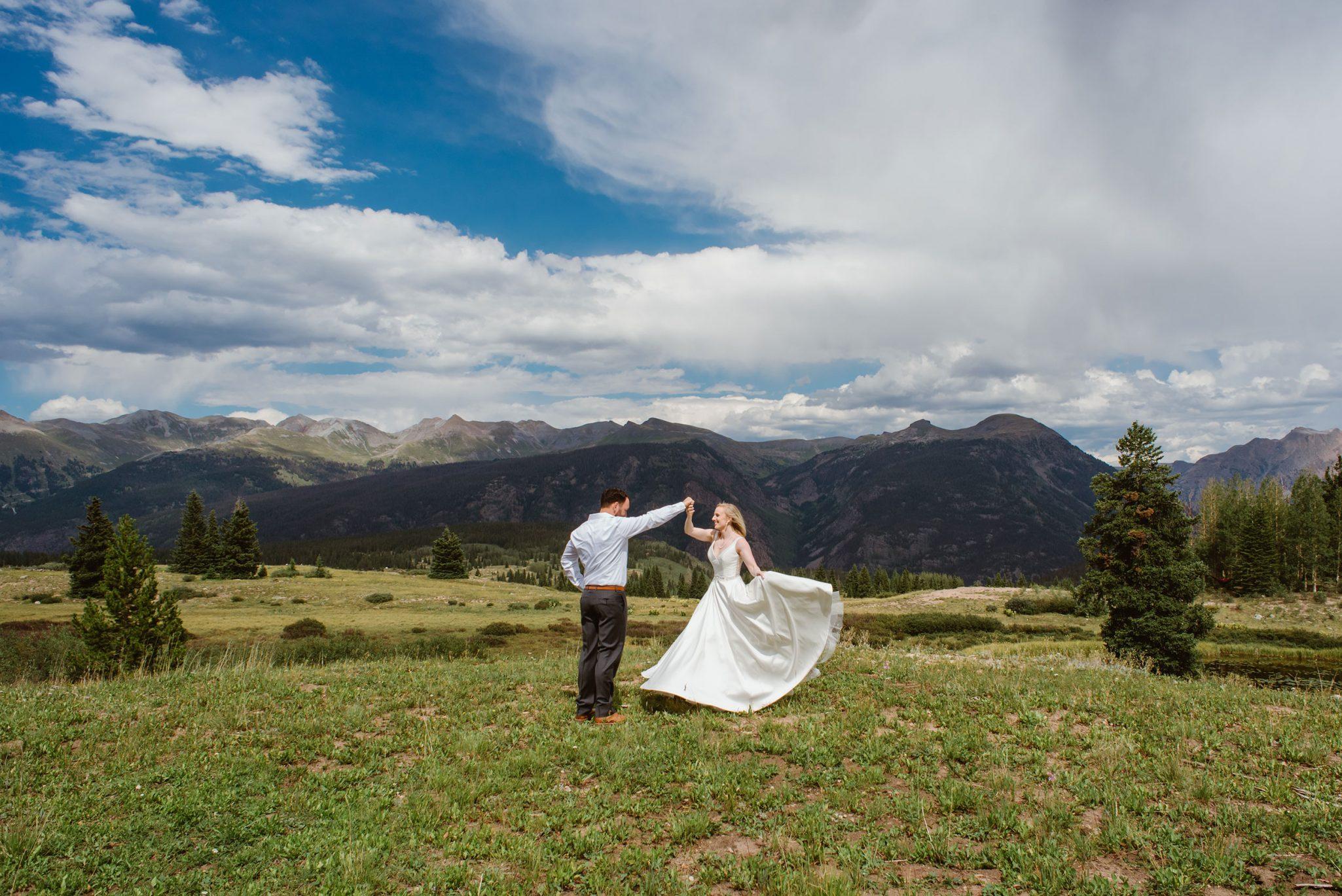 Bride & Groom in San Juan Mountains