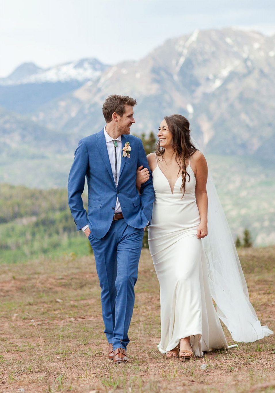 Couple walking in the San Juan mountains