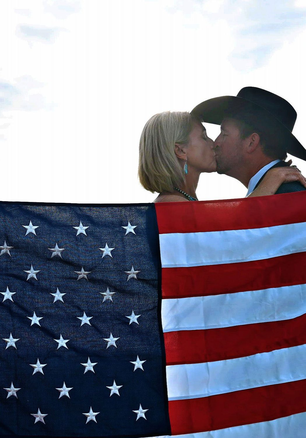 Just married + American flag